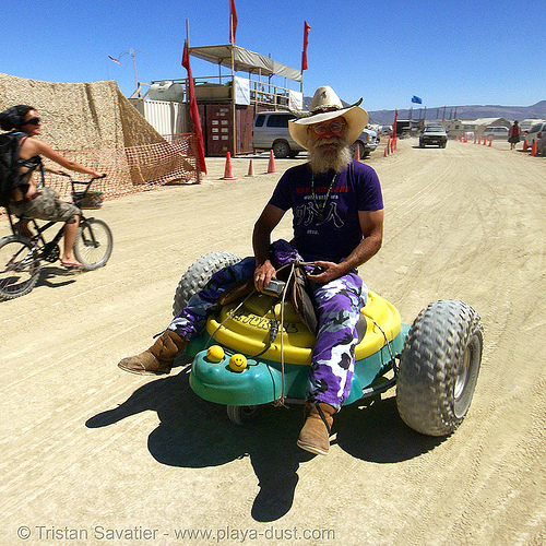tricycle - burning man 2007, beard, burning man, drift trike, hat, trike drifting, turtle tricycle, turtle trike