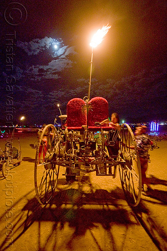 trike from the spontanous combustion camp - burning man 2009, fire, flame, full moon, night, three wheeler, tricycle
