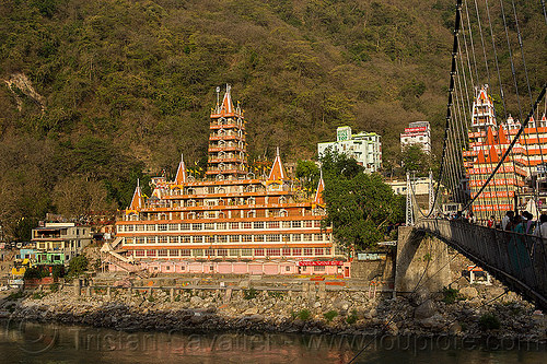 trimbakeshwar temple and laxman jhula bridge - rishikesh (india), building, ganga river, ganges river, lakshman jhula bridge, laxman jhula bridge, rishikesh, suspension bridge, temple, water