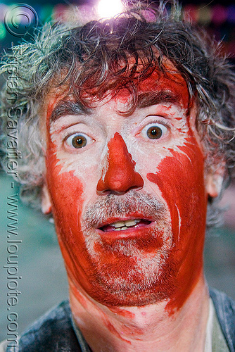 tristan savatier - carnaval - carnival in jujuy capital (argentina), andean carnival, argentina, face painting, facepaint, jujuy capital, man, noroeste argentino, red paint, san salvador de jujuy, self portrait, selfie