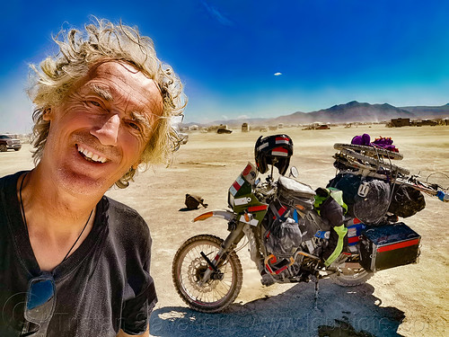 tristan savatier - KLR 650 - burning man 2019, burning man, klr 650, luggage, motorcycle, packed, selfie, selfportrait