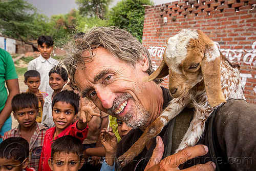 tristan savatier - selfie with baby goat and kids (india), baby goats, boys, children, india, khoaja phool, kids, man, self-portrait, selfie, village, खोअजा फूल