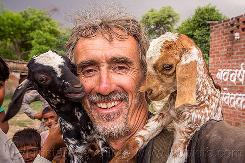 tristan savatier - selfie with two baby goats (india), baby goats, india, khoaja phool, kids, man, self-portrait, selfie, village, खोअजा फूल