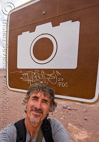 tristan savatier - selfportrait, camera, chile, man, photo, photography, road sign, san pedro de atacama, self portrait, selfie, valle de la luna