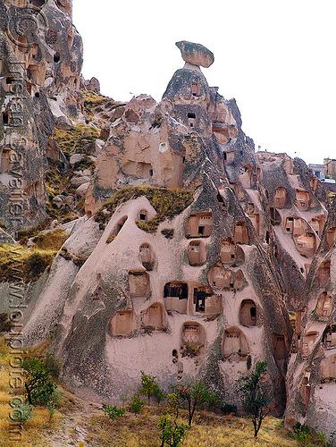 troglodyte dwellings - Üçhisar - cappadocia, cappadocia, cave dwellings, caves, erosion, fairy chimneys, geology, goreme, göreme, hoodoos, rock cut, rock formations, rock houses, rocks, uchisar castle, volcanic tuff, Üçhisar, Üçhisar castle
