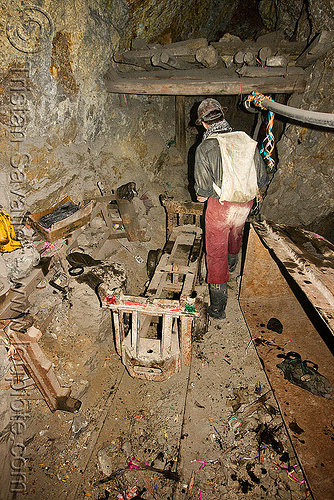 trolley in mine tunnel - potosi (bolivia), adit, beams, cerro rico, man, mina candelaria, mine worker, miner, mining, pipes, potosí, rails, safety helmet, tunnel, working