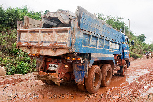 truck on mud road (laos), blue, laos, lorry, mud, road, truck