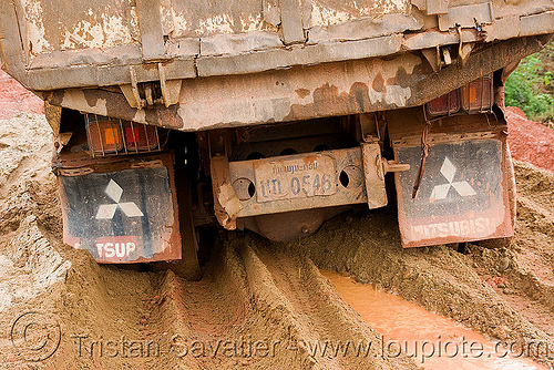 truck stuck in mud (laos), lorry, mitsubishi motors, mud, road, ruts, stuck, tracks, truck
