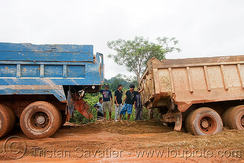 truck stuck in mud (laos), dirt road, laos, lorry, men, mud, sand, trucks, unpaved