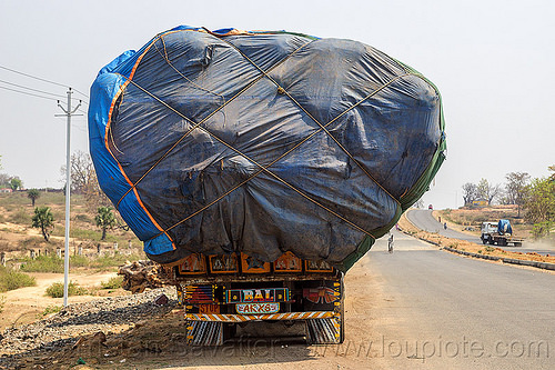 truck with oversize load (india), blue, cargo, freight, lorry, overloaded, oversize load, road, ropes, tarp, tata motors, truck