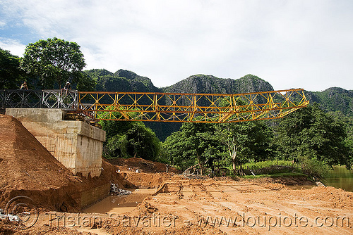 truss bridge construction (laos), bridge construction, infrastructure, kong lor, metal truss