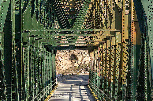 truss bridge - road bridge (india), bhagirathi valley, india, jadh ganga bridge, rivets, road, single lane, truss bridge