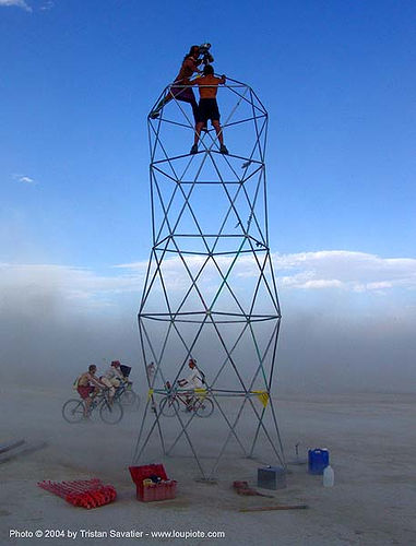 truss tower - burning man 2004, art installation, burning man, dust storm, truss tower