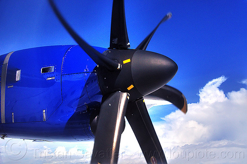 turboprop engine & propeller, aircraft, atr-72-212a, atr-72-500, blue sky, clouds, flying, maswings, plane propeller, propeller blades, turboprop engine, turboprop propeller