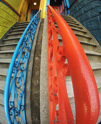 twin stair  (san francisco), fisheye, stairs, twins, two