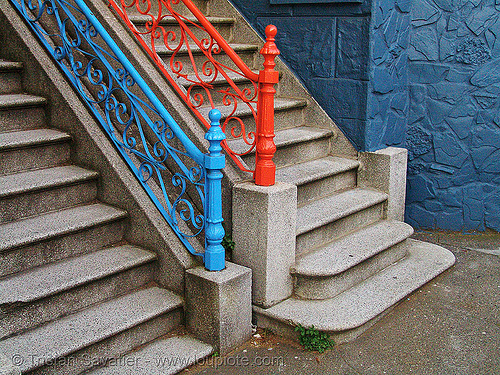 twin stair (san francisco), blue, red, stairs, twins, two