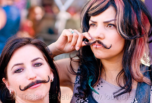 two girls with fake moustaches, fake mustaches, false moustaches, false mustaches, haight street fair, people, sarah, women