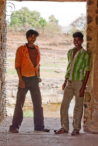 two guys in the palace ruine - mandu (india), doorway, mandav, mandu, men, open shirt, people, standing, striped shirt, two