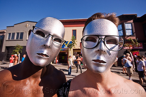 two guys with silver masks - folsom street fair (san francisco), eyeglasses, eyewear, glasses, masks, men, silver, spectacles