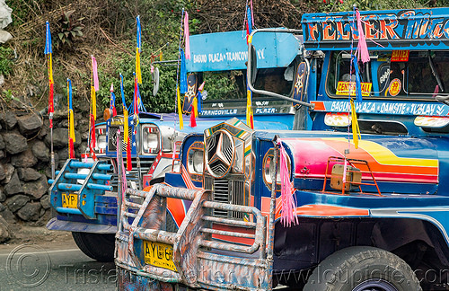 two jeepneys (philippines), baguio, colorful, decorated, jeepney, painted, philippines, road, truck