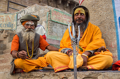 sadhus with trident - hindu holy men (india), babas, beard, ghats, glasses, headdress, headwear, hinduism, people, prescription glasses, sitting, spectables, tilak, tilaka, varanasi