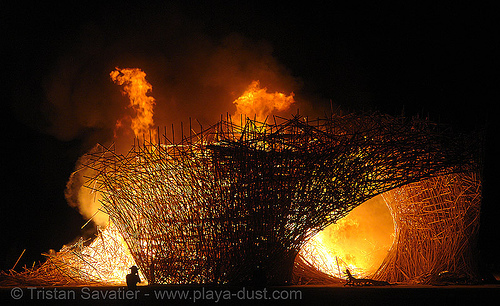 uchronia burning - burning-man 2006, art, art installation, belgian waffle, burning man, fire, flames, night