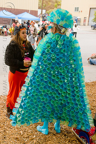 uncle ira - burning man decompression 2009 (san francisco), burning man decompression, costume, plastic cups, uncle ira, woman