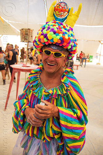 uncle ira - rainbow colors costume - burning man 2016, burning man, center camp, costume, goggles, hat, rainbow colors, uncle ira