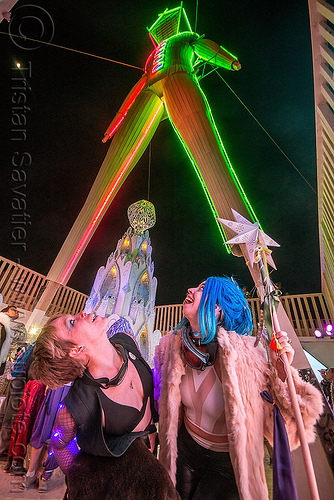 under the man at night - burning man 2015, glowing, neon, people, women