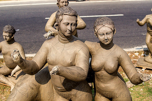 unfinished clay sculptures - no hands (india), clay, sculptures, statues, west bengal