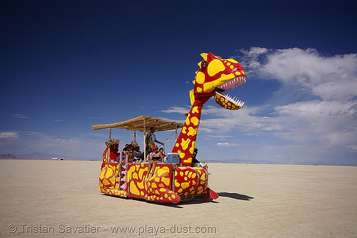 unga bunga dino - burning man 2007, art car, burning man, dinosaur, red, saurus, unga bunga, ungabungasaurus, yellow