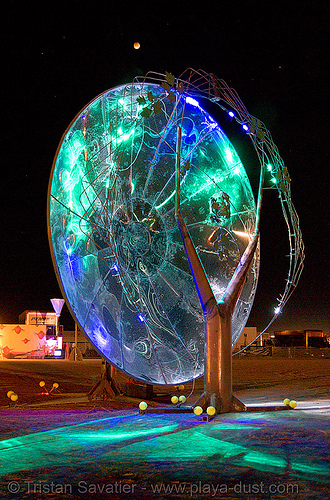unidentified art piece on the playa - burning man 2007, art installation, burning man, chuck napfzinger, eclise, full moon, lunar eclipse, moon eclipse, night, unidentified art