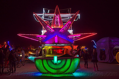 unidentified light morphing art car - burning man 2012, glowing, night, unidentified art car