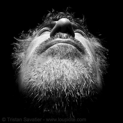 tristan savatier, beard, contrast, low angle, low key, self portrait, selfie, shadows, tristan savatier, unshaven man