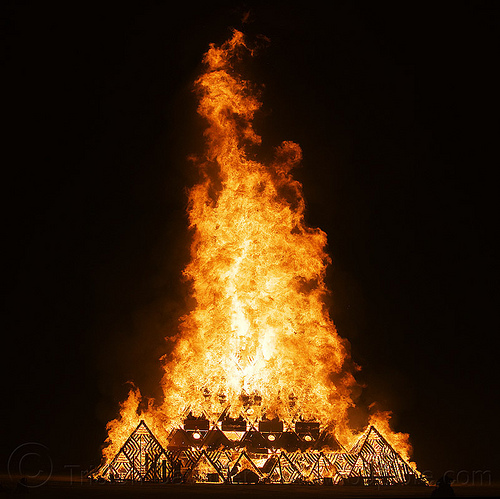 up in smoke! - temple of whollyness - burning man 2013, burning man, fire, night, temple of whollyness, wooden pyramid