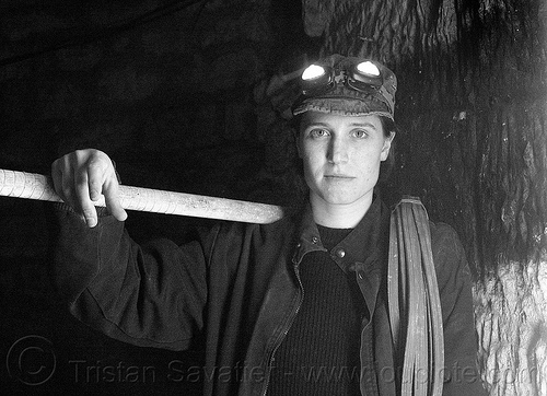 urban explorer with head lights - libby - urbex (paris), cataphile, cave, clandestines, head-lights, headlamp, headlight, illegal, libby, mine worker, miner, paris, tikka, trespassing, underground quarry, woman