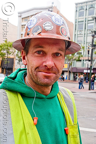 utility worker - safety helmet - refective safety vest - earplugs, construction workers, high-visibility jacket, high-visibility vest, reflective jacket, reflective vest, safety helmet, safety jacket, utility workers
