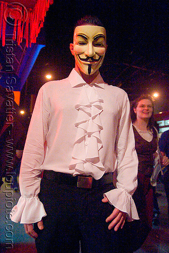 V for vadetta mask - renaissance shirt - halloween (san francisco), costume, flounce, halloween, man, mask, night, shirt, v for vandetta