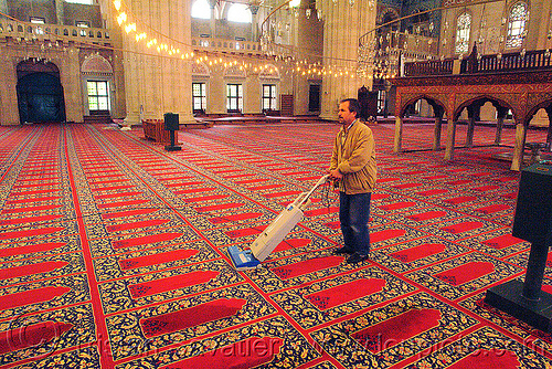 vacuuming the selimiye mosque carpet, carpet, cleaning, edirne, floor, hoover, inside, interior, islam, man, religion, selimiye mosque, sweeper, vacuum cleaner, vacuuming