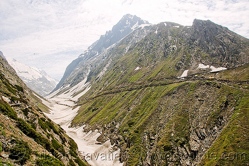 valley and trail - amarnath yatra (pilgrimage) - kashmir, amarnath yatra, hiking, hindu pilgrimage, india, kashmir, mountain trail, mountains, pilgrims, snow, trekking