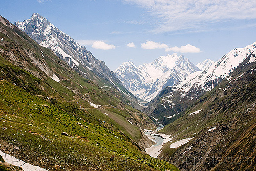 valley on the way to to the cave - amarnath yatra (pilgrimage) - kashmir, amarnath yatra, glacier, hiking, hindu pilgrimage, india, kashmir, mountain trail, mountains, pilgrims, snow, trekking