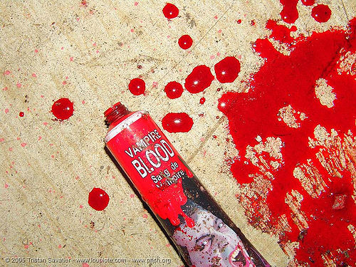 vampire blood, fake blood, red, stage blood, theatrical blood, tube, vampire blood