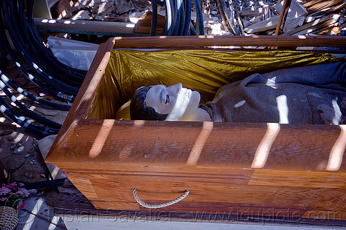 vampire in coffin - darwin ghost town, casket, coffin, corpse, darwin, death valley, desert, dummy, ghost town, mannequin, shadows, sun light, vampire