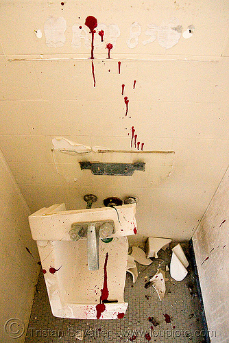 vandalized bathroom - abandoned hospital (presidio, san francisco) - PHSH, abandoned building, abandoned hospital, bathroom, blood, bloody, broken, decay, presidio hospital, presidio landmark apartments, red, sink, toilet, trespassing, urban exploration, vandalism, vandalized