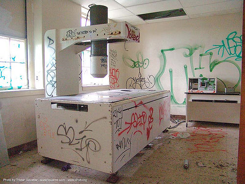 Vandalized x-ray machine. The abandoned Public Health Service Hospital