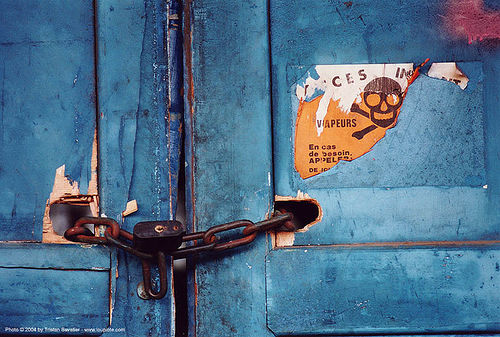 vapeurs dangereuses - grands moulins de paris, blue, chain, chained door, closed, crossbones, danger, industrial mill, lock, no access, no trespassing, padlock, paris, skull and bones
