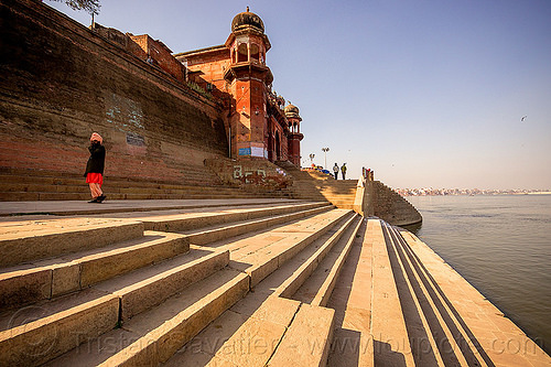 varanasi ghat - ganges river (india), ganga, ganga river, ghats, hindu, hinduism, steps, vanishing point, water