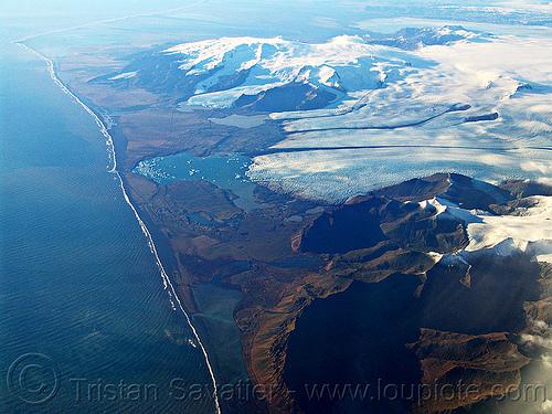vatnajökull glacier and Jökulsárlón lake (iceland), aerial photo, breiðamerkurjökull, coast, glacial lake, glacier, ice, iceland, jokulsarlon, jökulsárlón, ocean, sea, seashore, shore line, vatnajokull, vatnajökull, water
