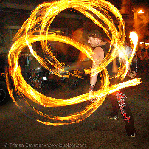 vatra - fire performer spinning fire (san francisco), fire dancer, fire dancing, fire performer, fire poi, fire spinning, march of light, night, pyronauts, spinning fire, vatra