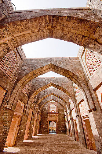 vaults in palace ruin - mandu (india), arches, architecture, building, mandav, ruins, stone